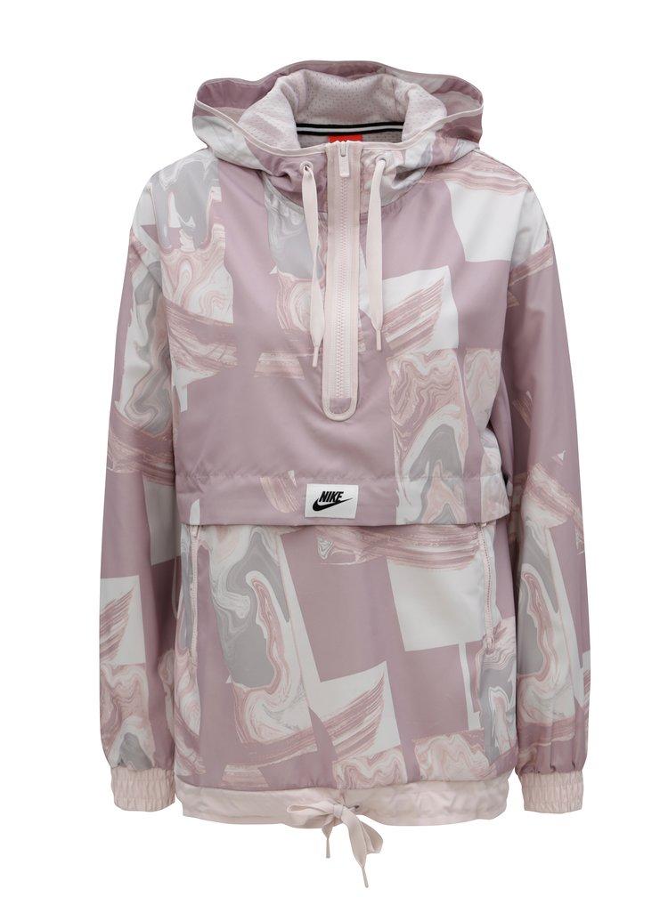 Šedo-růžový dámský vzorovaný anorak Nike