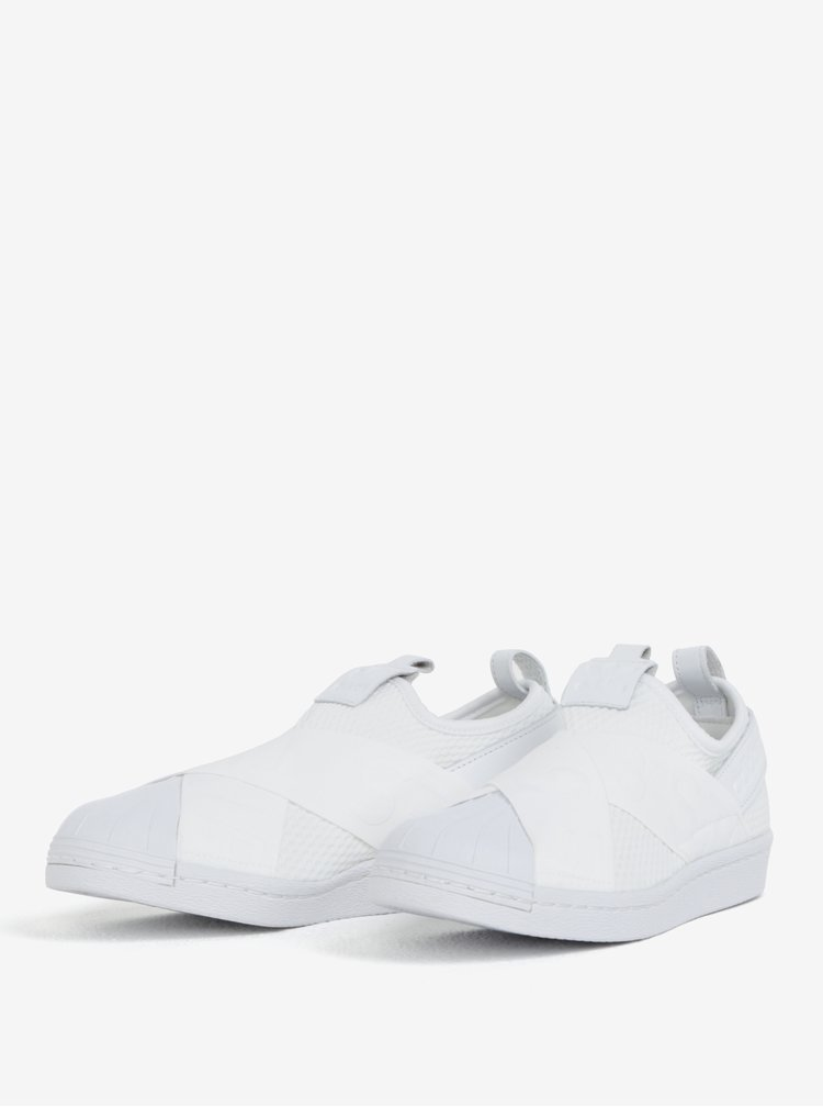 Bílé dámské slip on s koženými detaily adidas Originals Superstar
