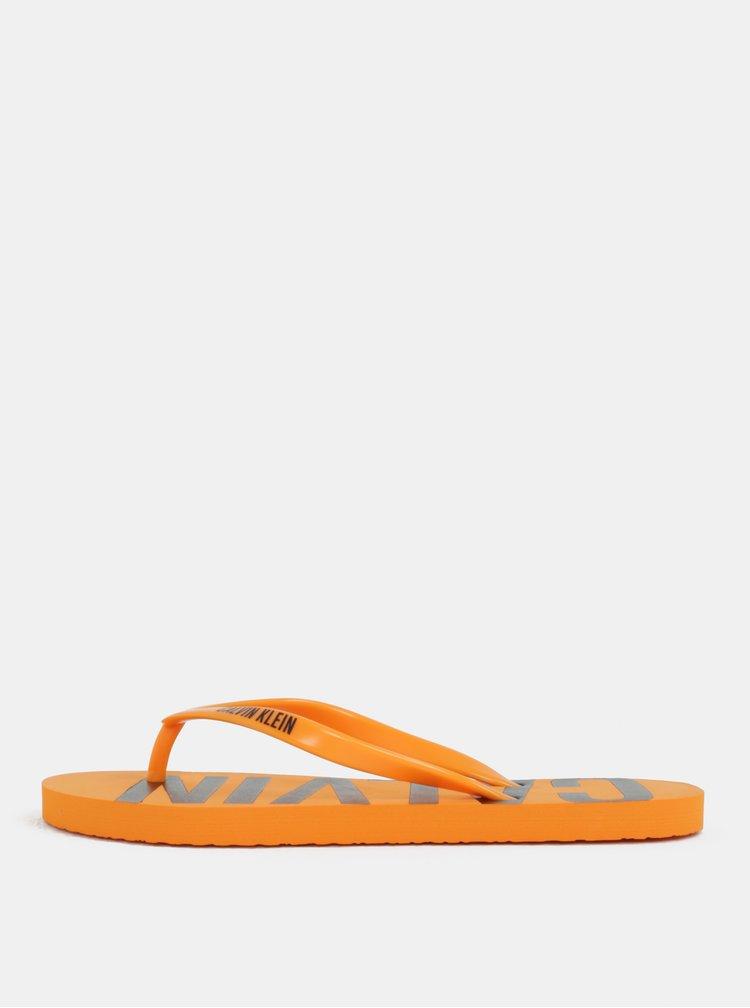 Oranžové dámské žabky Calvin Klein Underwear