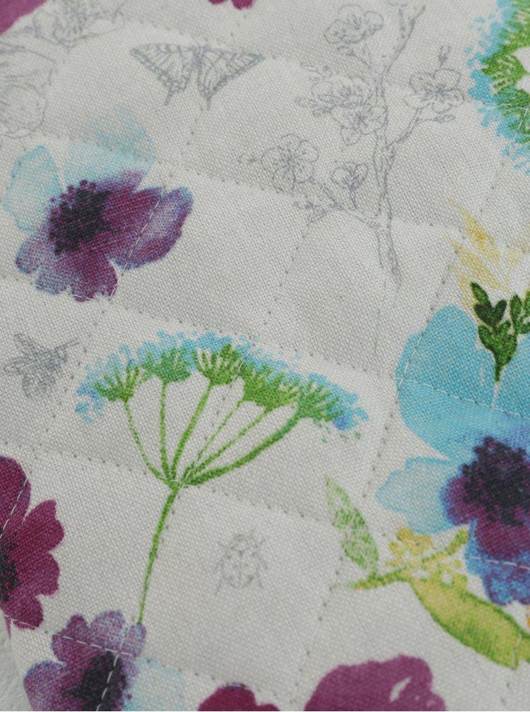 Bílo-fialová chňapka s květovaným motivem Cooksmart