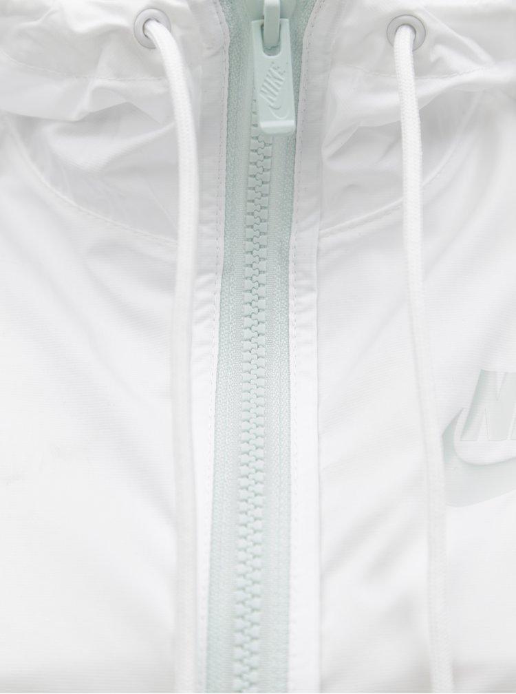 Geaca lejera de dama alb-mentol cu fermoar Nike