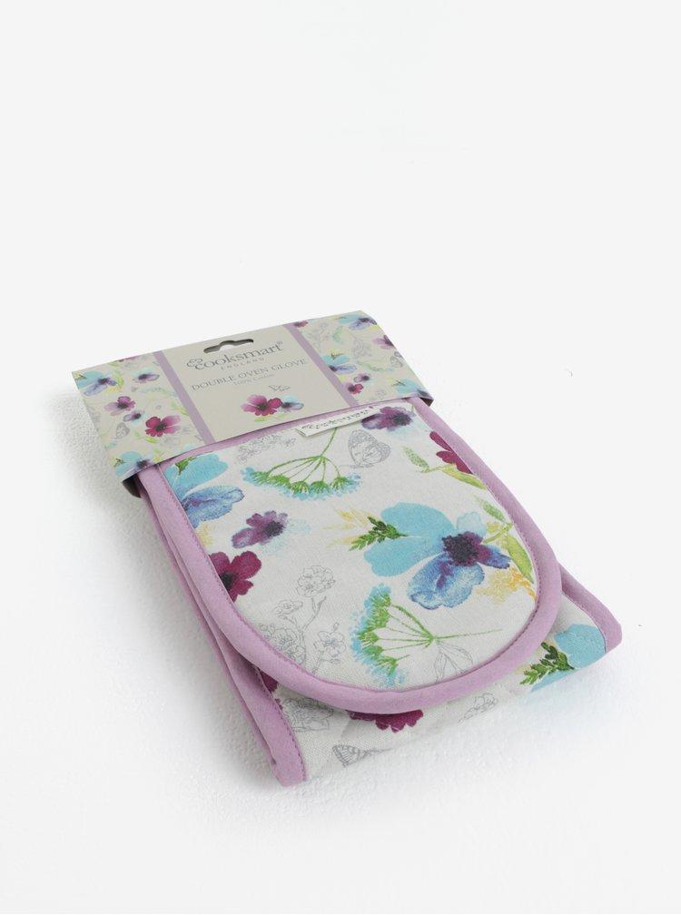 Bílo-fialové chňapky s květovaným motivem Cooksmart