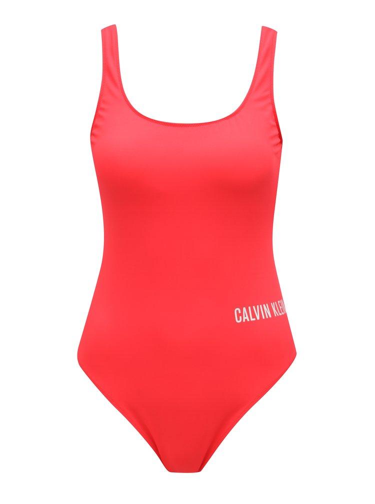 Červené dámské jednodílné plavky Calvin Klein Underwear