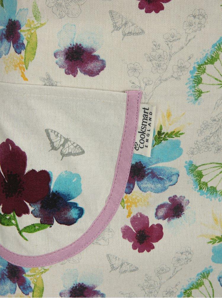 Bílo-fialová zástěra s květovaným motivem Cooksmart