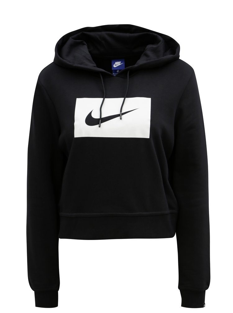 Černá dámská crop mikina s kapucí Nike Hoodie
