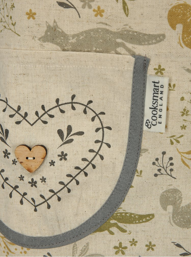 Krémová zástěra s lesním motivem Cooksmart