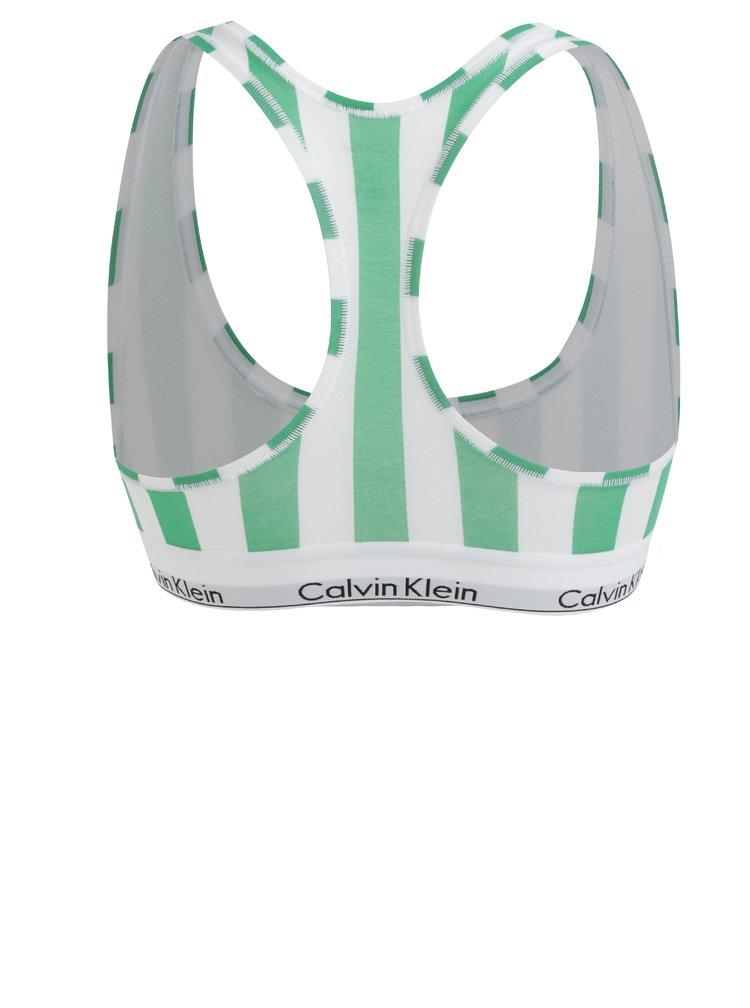 Bílo-zelená pruhovaná podprsenka Calvin Klein Underwear