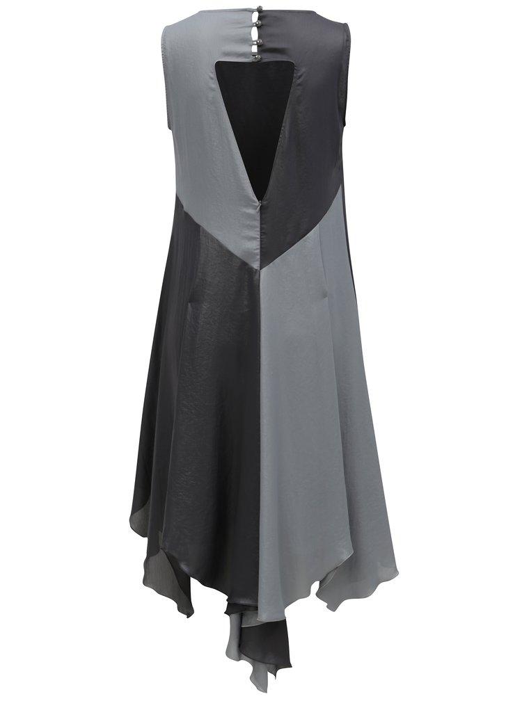 Šedé volné asymterické šaty s metalickými odlesky Alexandra Ghiorghie Study