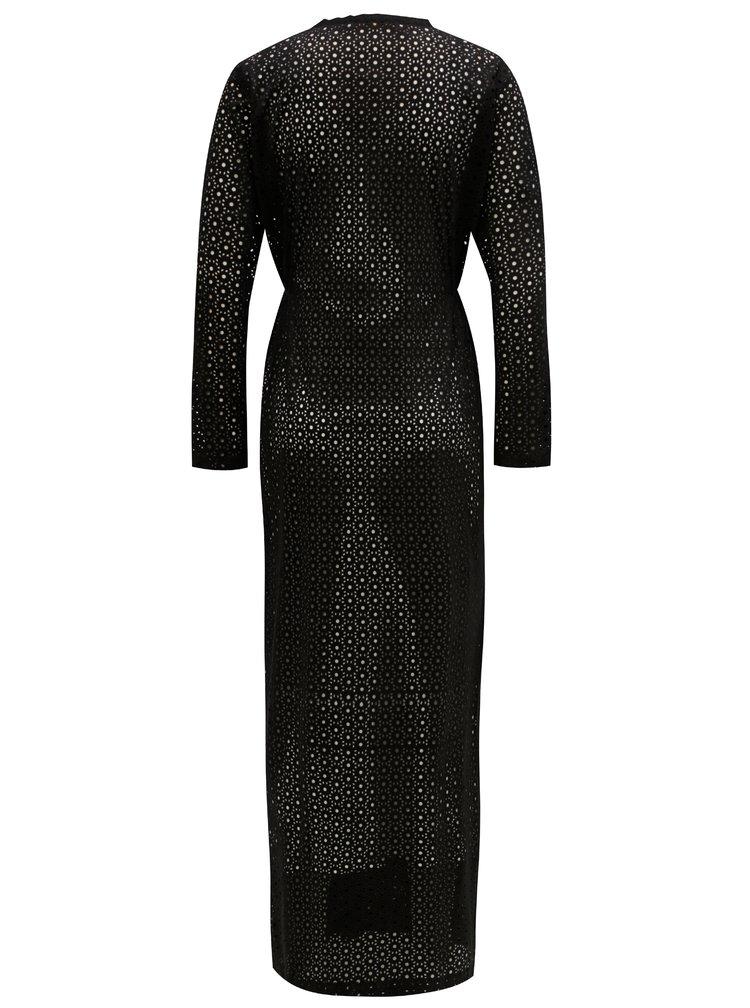 Černé maxišaty s dírkovaným vzorem Alexandra Ghiorghie Pelin