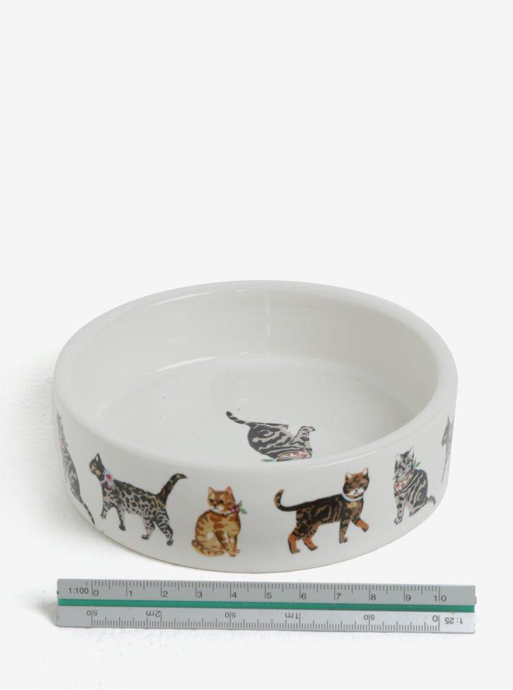 Krémová vzorovaná miska pro kočky Cooksmart
