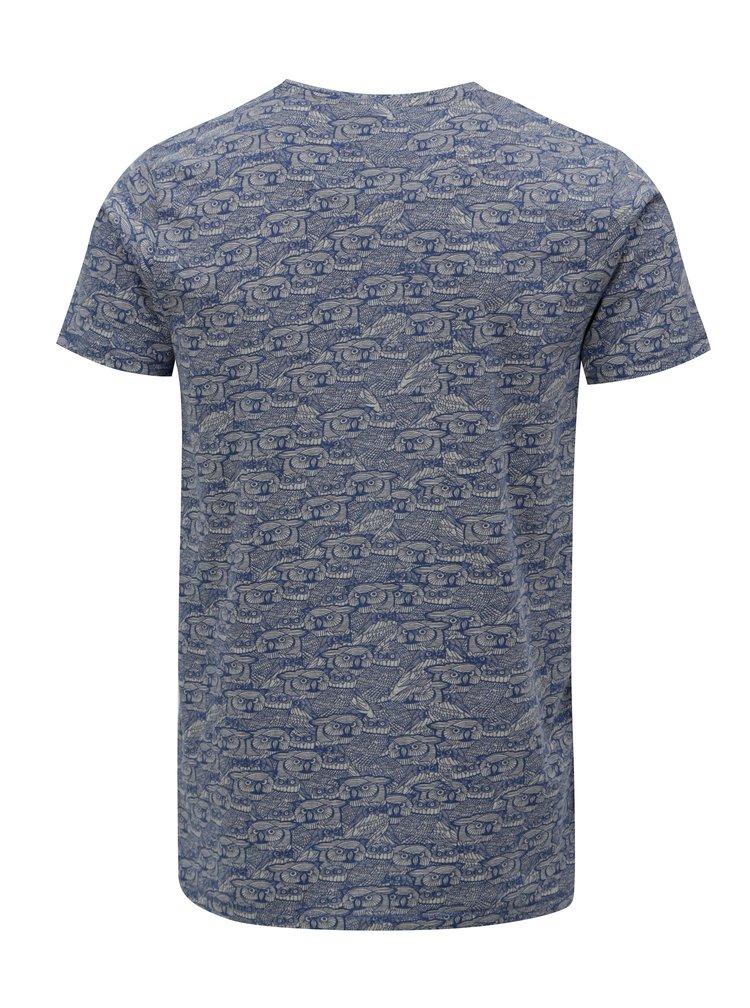 Šedo-modré vzorované tričko Dstrezzed