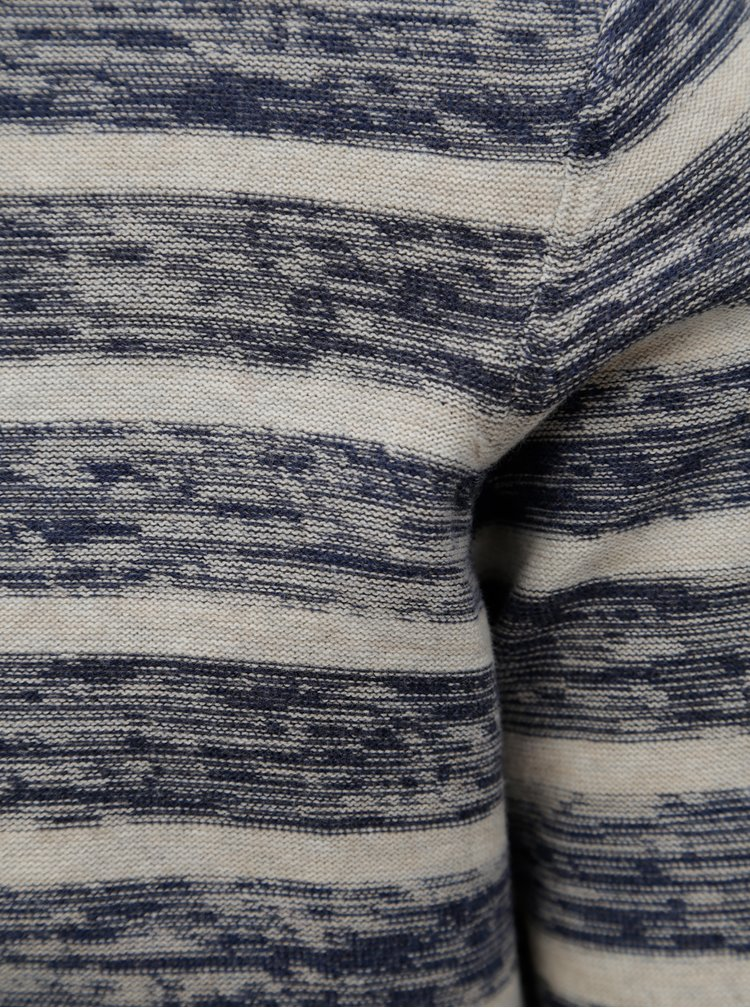 Pulover lejer albastru-crem cu dungi Dstrezzed