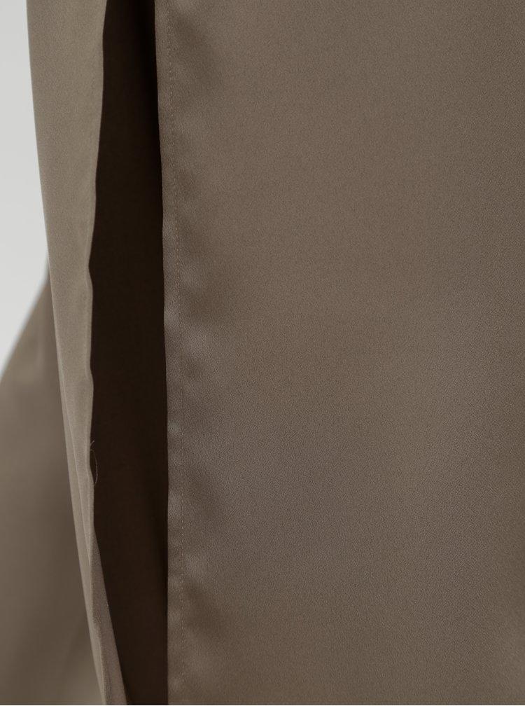 Béžové volné kalhoty s průstřihy a vysokým pasem Alexandra Ghiorghie Omar