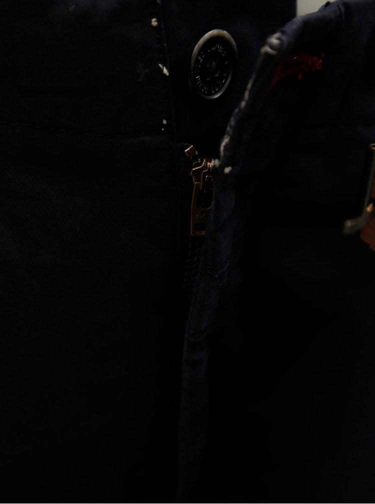 Tmavě modré chino kalhoty s páskem Dstrezzed