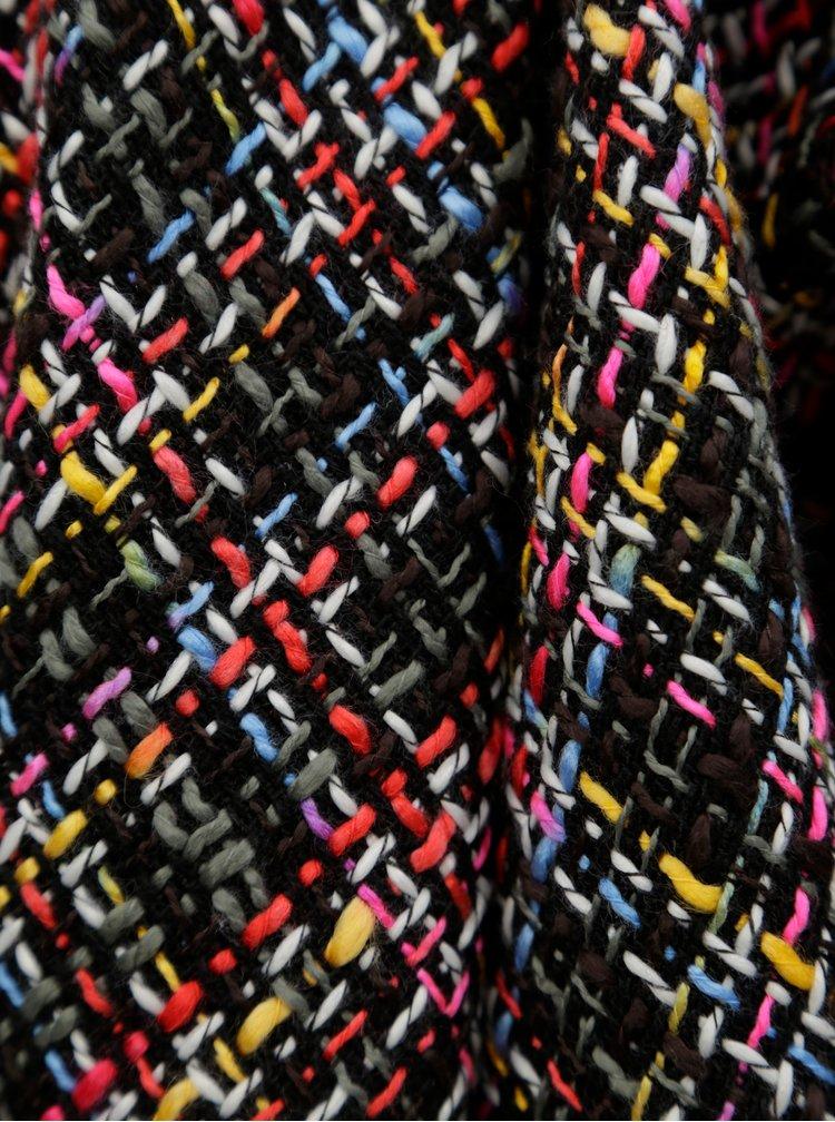 Černé žíhané sako volánovými klopami Ghiorghie Moren
