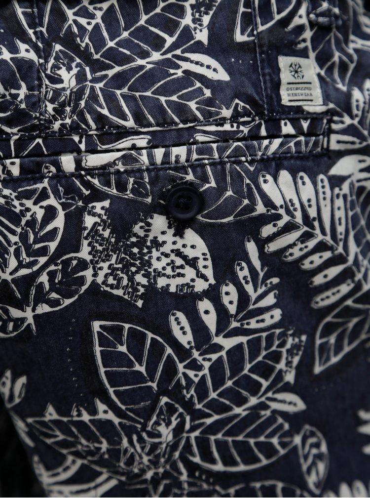 Pantaloni scurti chino albastru inchis cu model si curea Dstrezzed