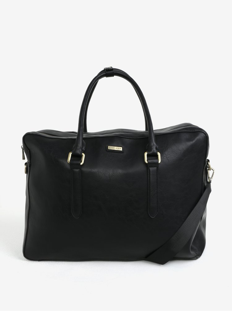 Černá koženková cestovní taška Bobby Black