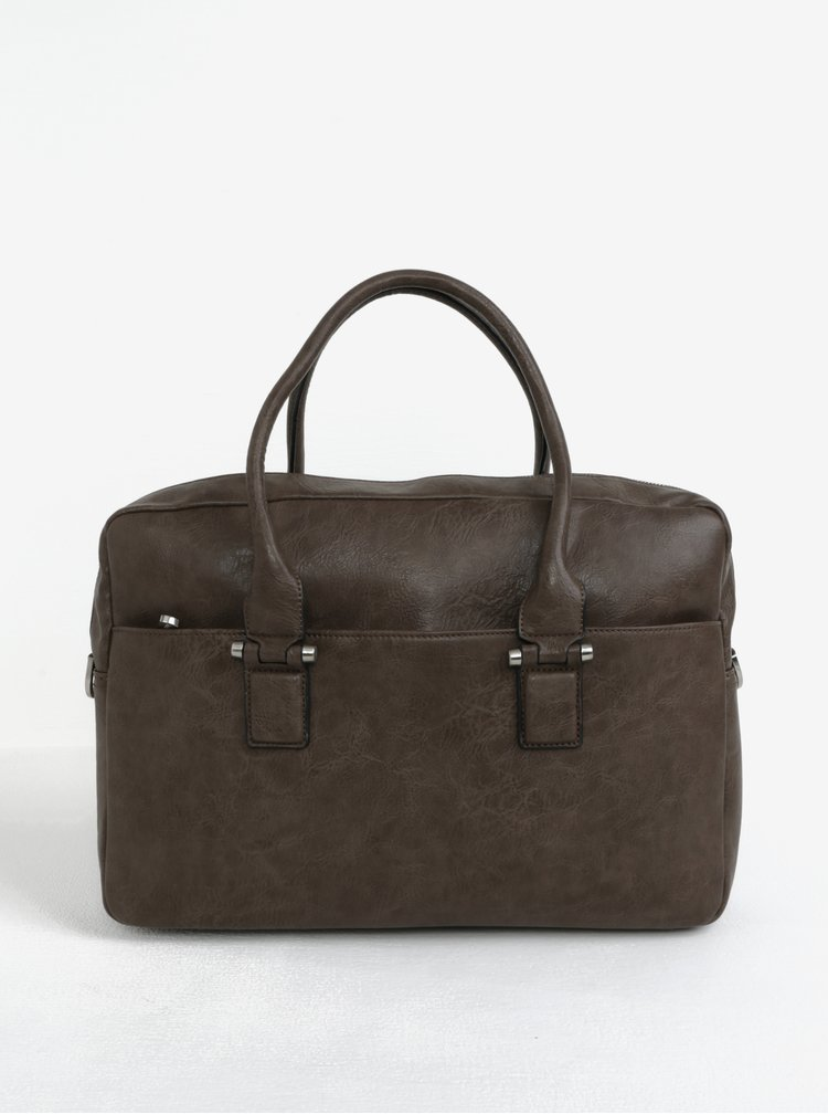 Hnědá koženková taška Bobby Black