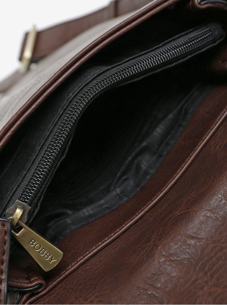 Tmavě hnědá koženková crossbody taška Bobby Black