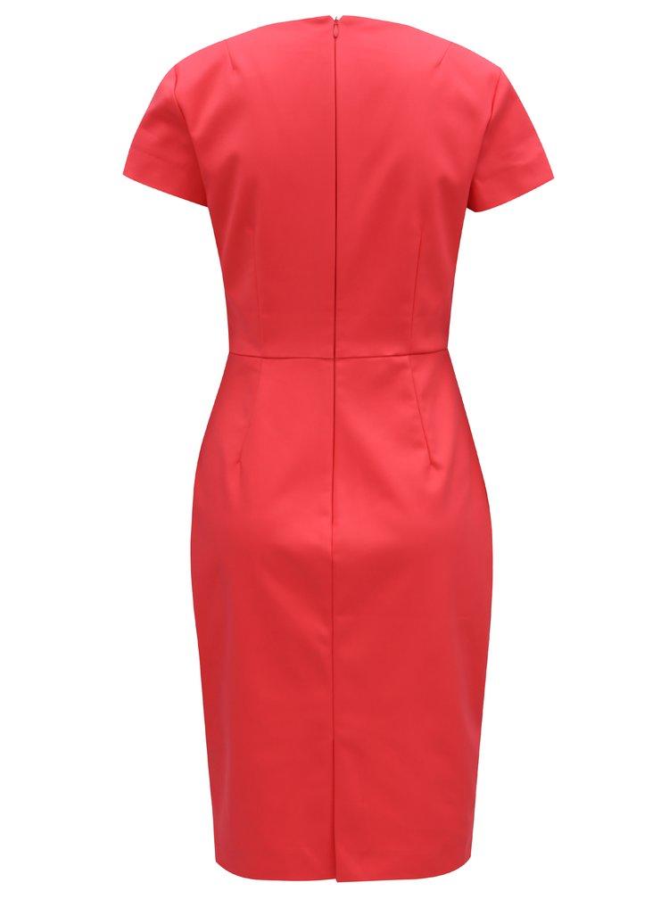 Korálové pouzdrové šaty s véčkovým výstřihem French Connection Glass