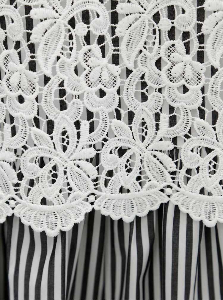 Rochie alb-negru cu dungi si top din dantela 2in1 French Connection Sardinia