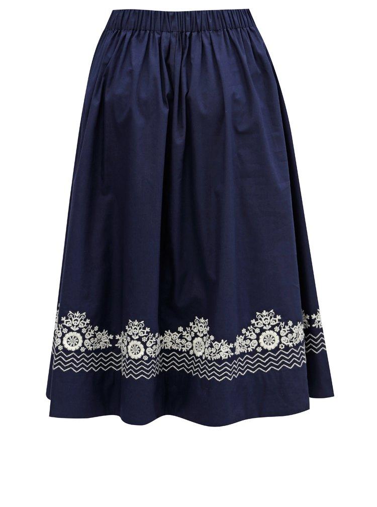 Tmavě modrá sukně s knoflíky a výšivkou French Connection Rhodea