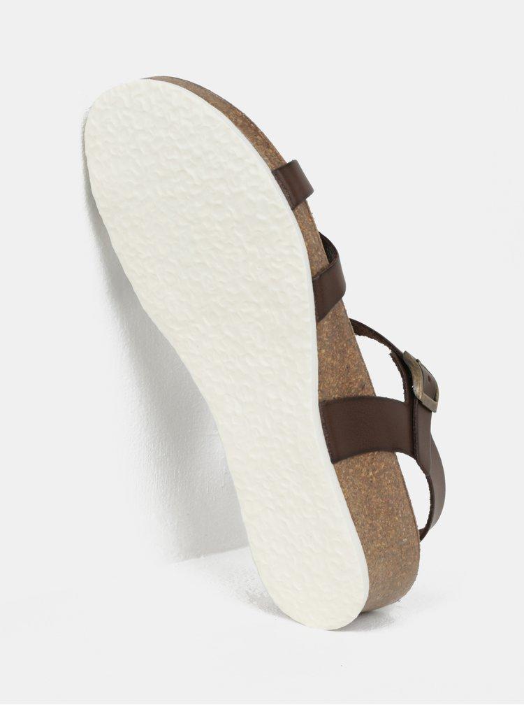 Tmavě hnědé sandálky na klínku OJJU Alyssa