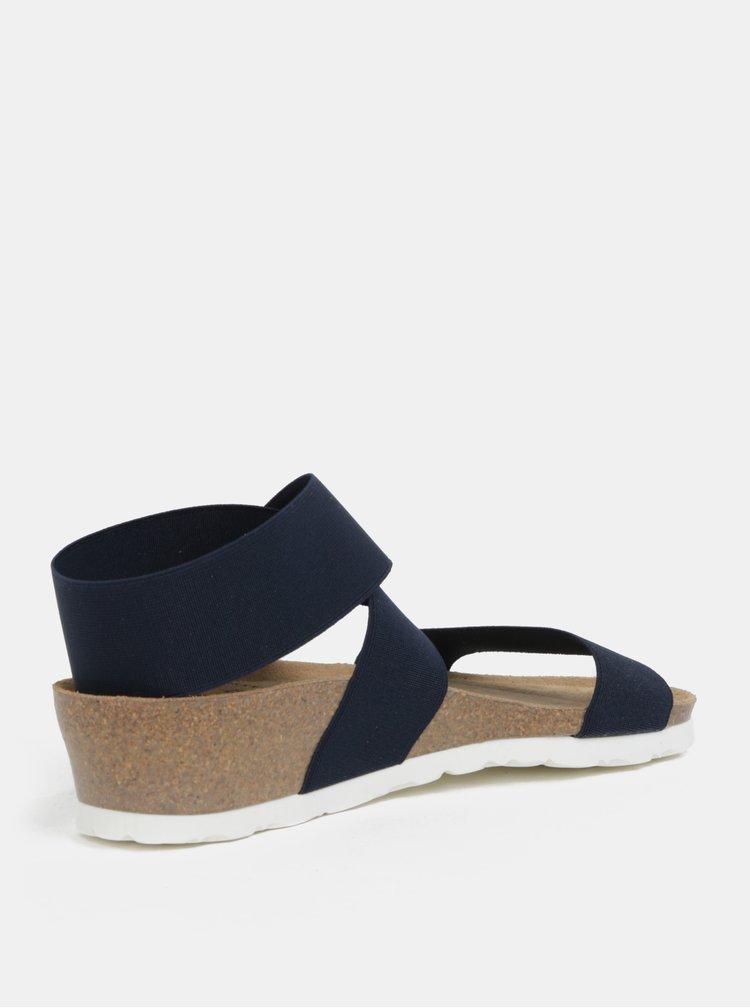 Tmavě modré sandály na klínku s elastickými pásy OJJU