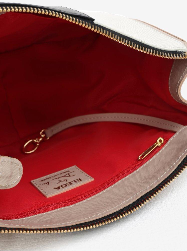 Černo-béžová kožená crossbody kabelka ELEGA Dana