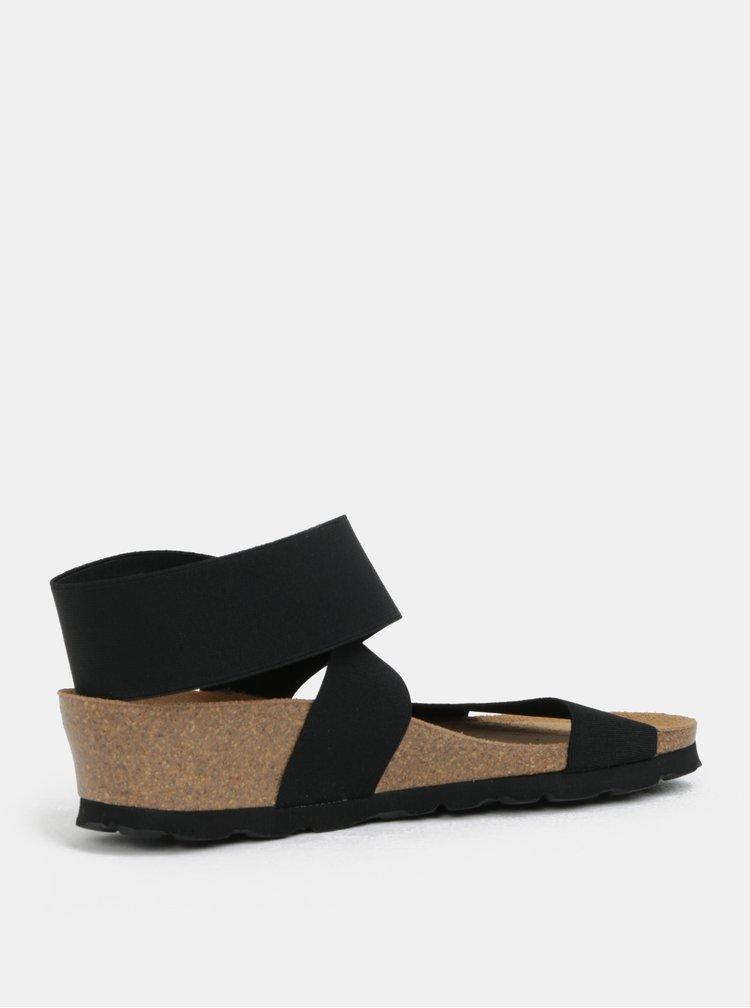 Čierne sandále na kline s elastickými pásikmi OJJU