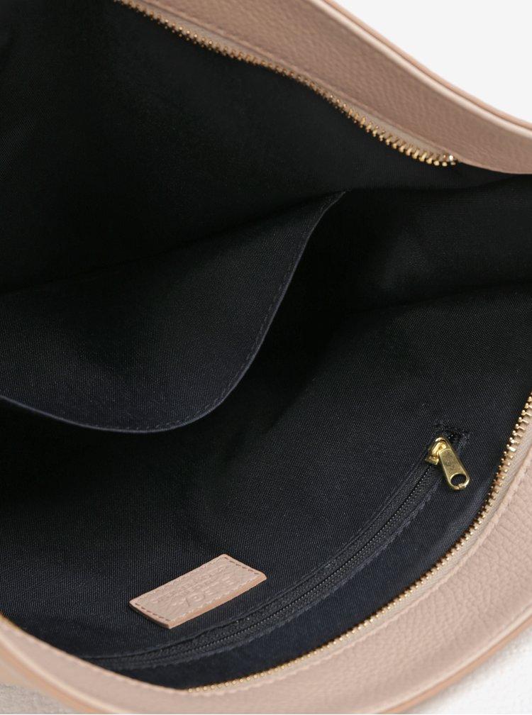 Béžová velká kožená crossbody kabelka  ELEGA Hobie