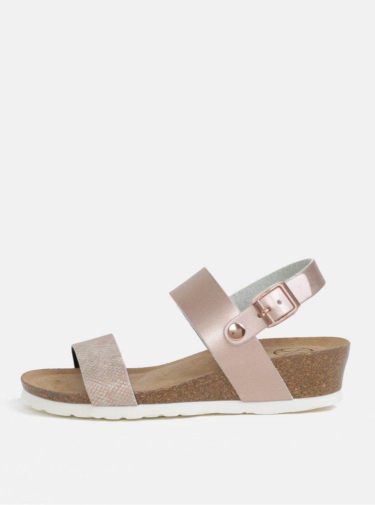 Ružové metalické sandále na kline OJJU