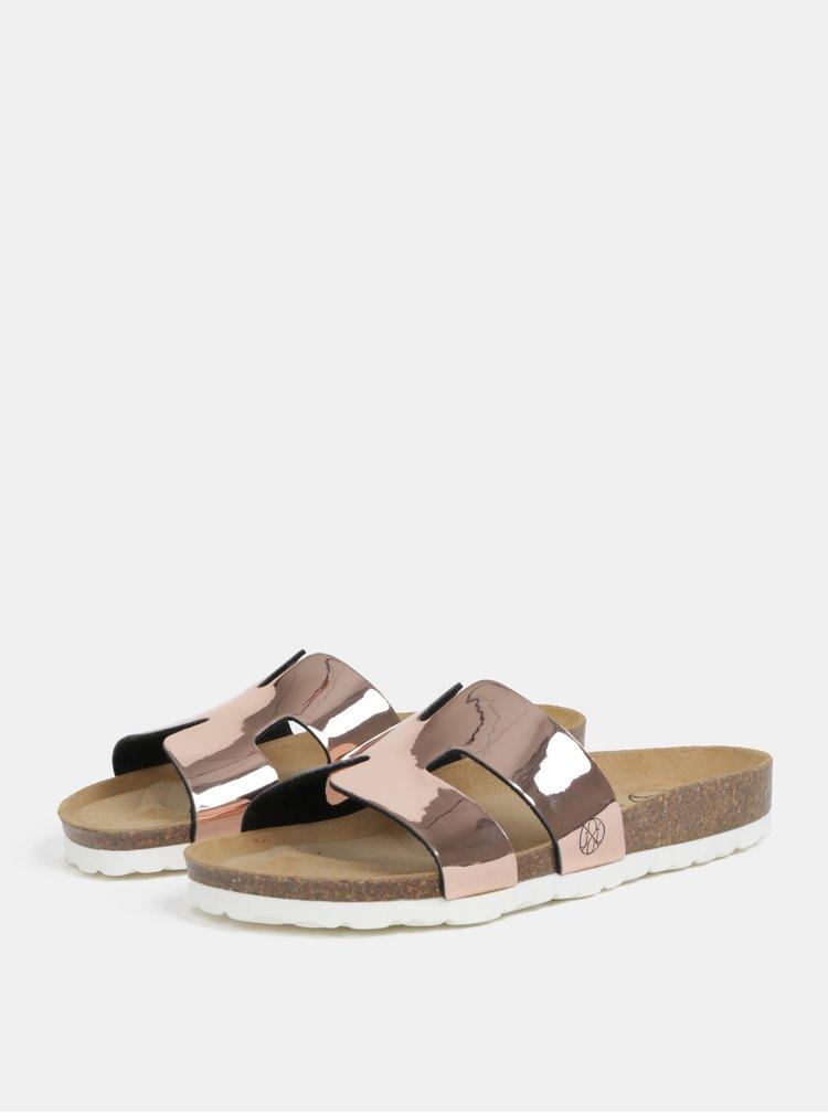 Metalické pantofle v růžovozlaté barvě OJJU Hilary
