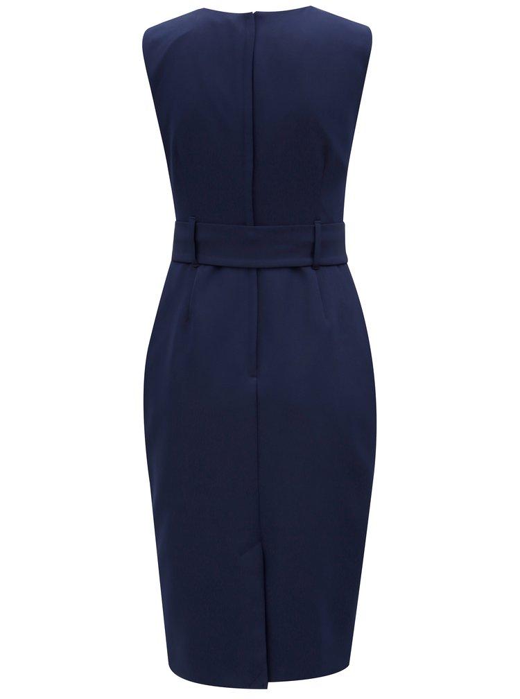 Tmavě modré pouzdrové šaty s páskem Dorothy Perkins