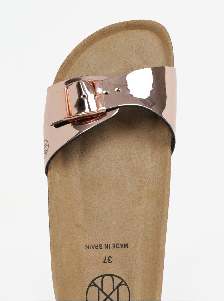 Metalické lesklé pantofle v růžovozlaté barvě OJJU