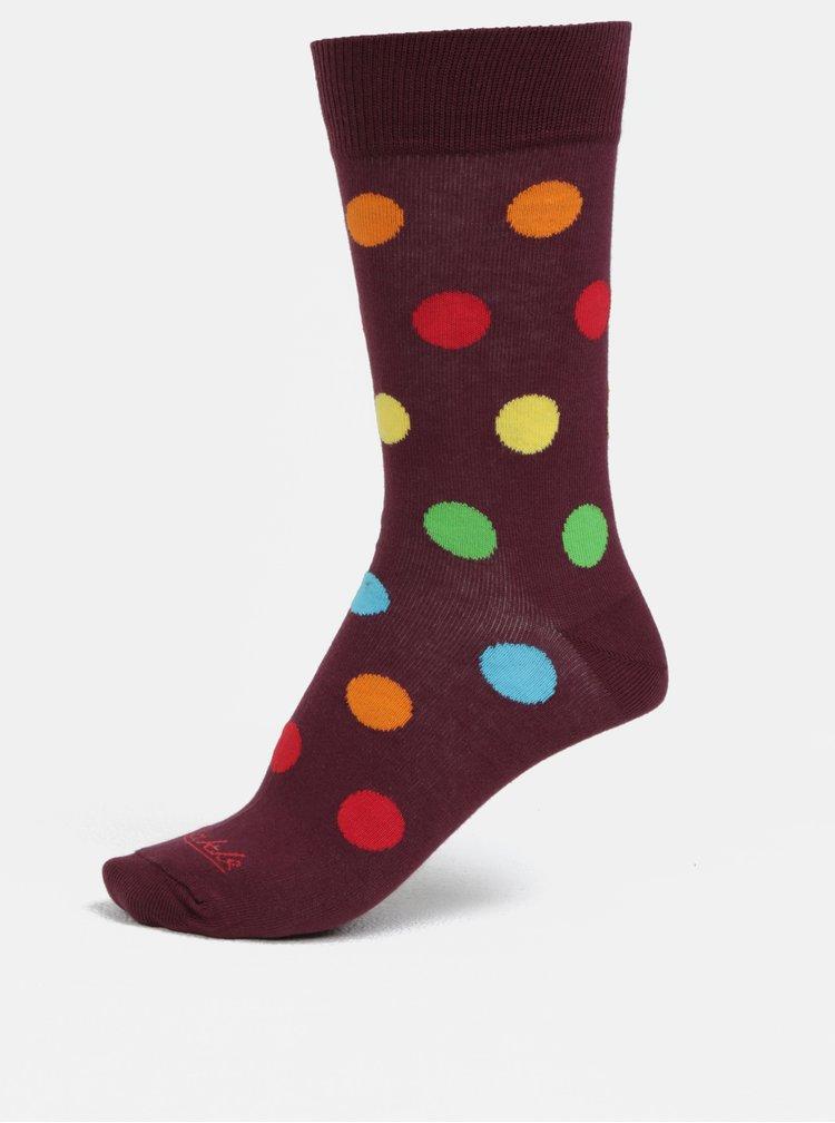 Vínové unisex puntíkované ponožky Fusakle Retráš letný