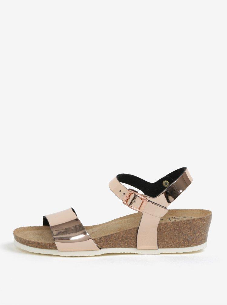 Metalické lesklé sandály v růžovozlaté barvě na klínku OJJU