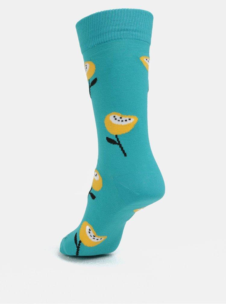 Tyrkysové unisex ponožky Fusakle Mak horský