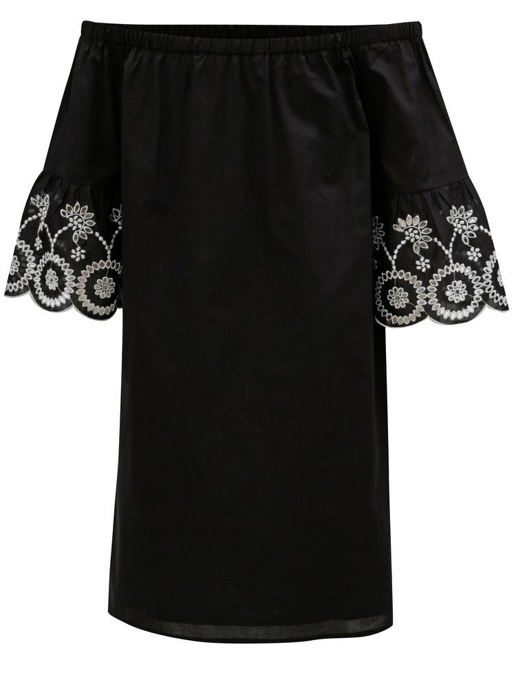 Černé šaty s odhalenými rameny a madeirou Dorothy Perkins
