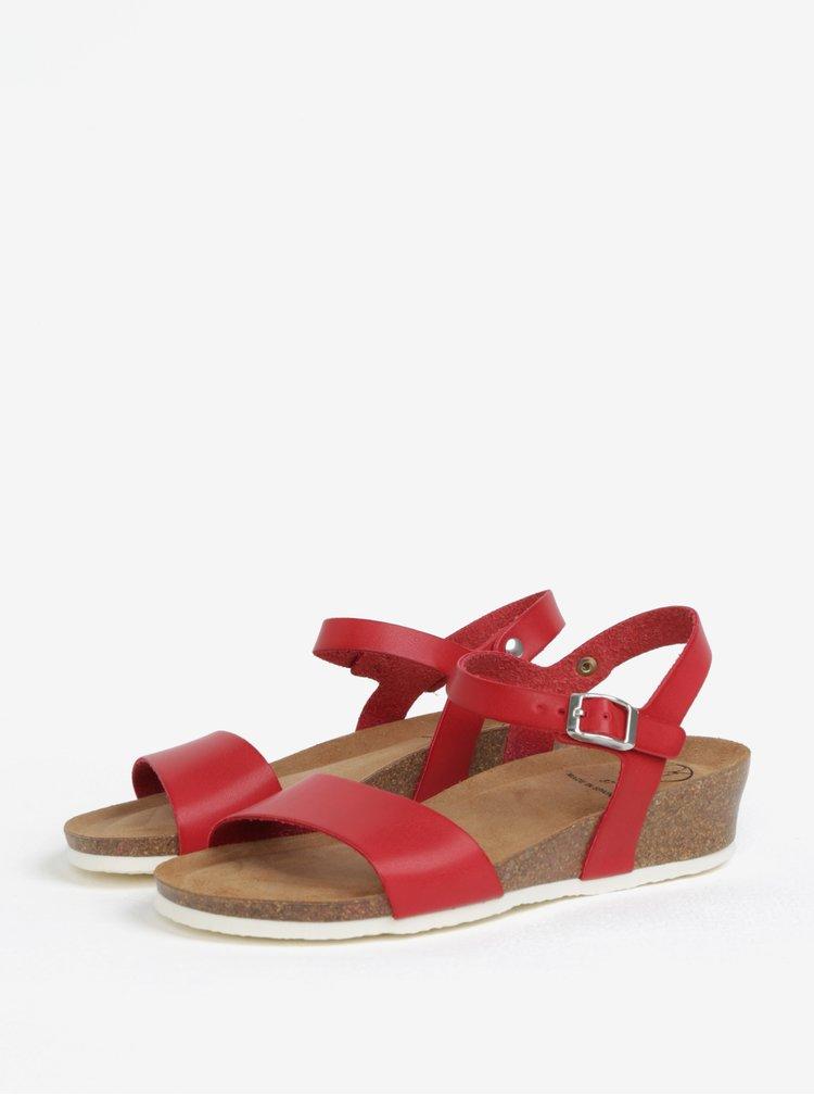 Červené sandály na klínku OJJU