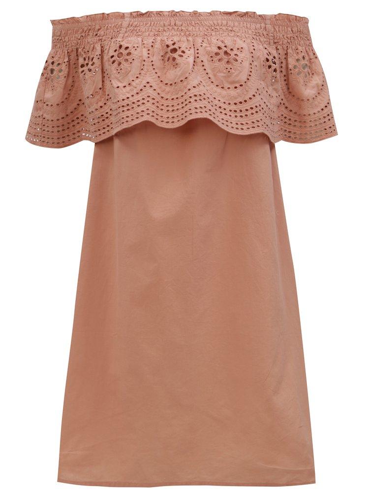 Starorůžové šaty s odhalenými rameny a madeirou Dorothy Perkins