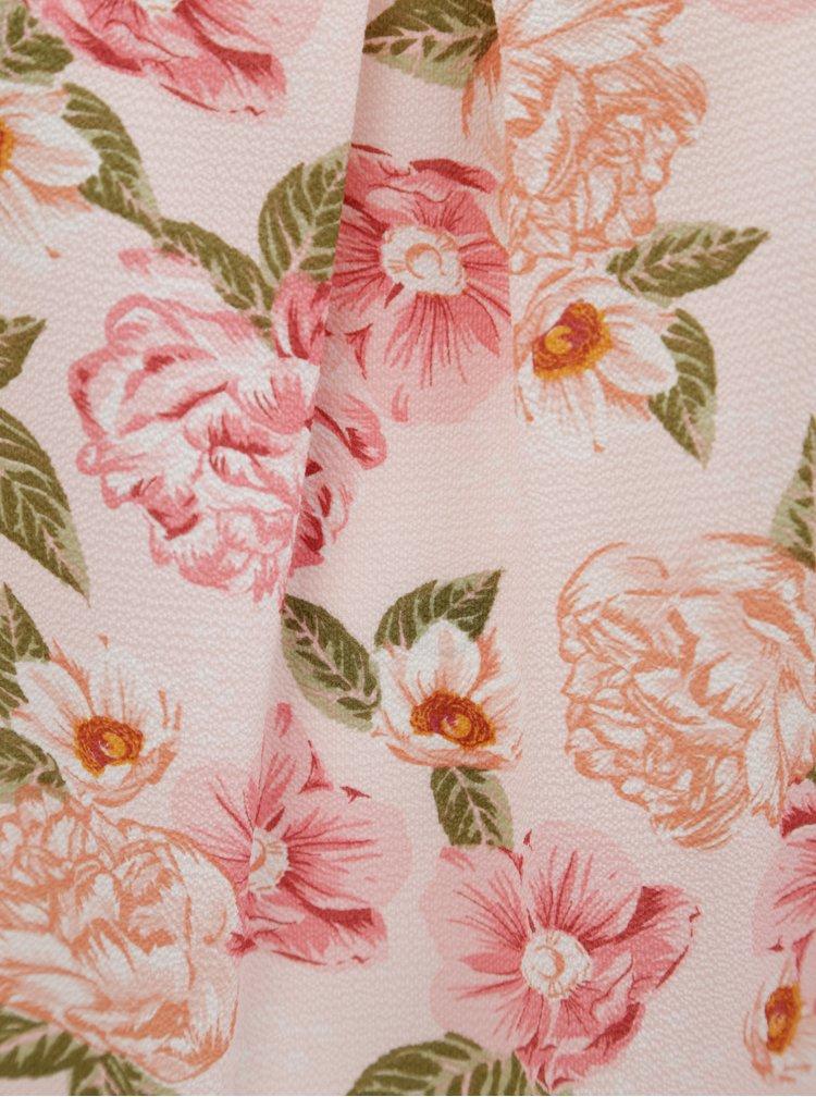 Růžová květovaná halenka bez rukávů Dorothy Perkins Curve