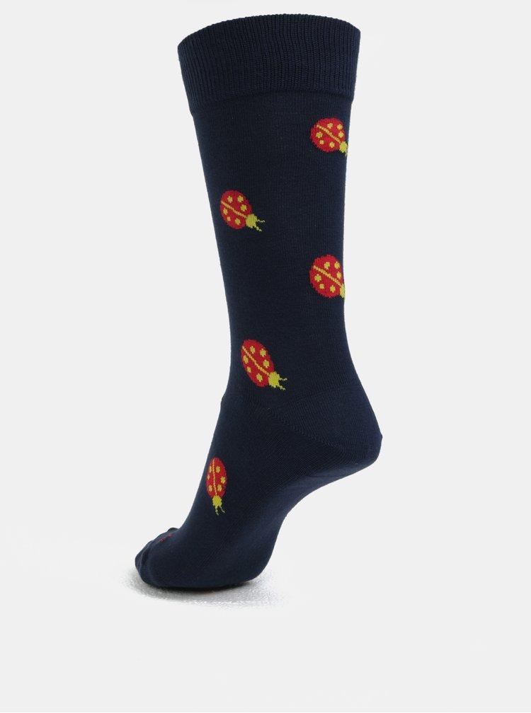 Tmavě modré unisex ponožky s motivem berušek Fusakle Lienka