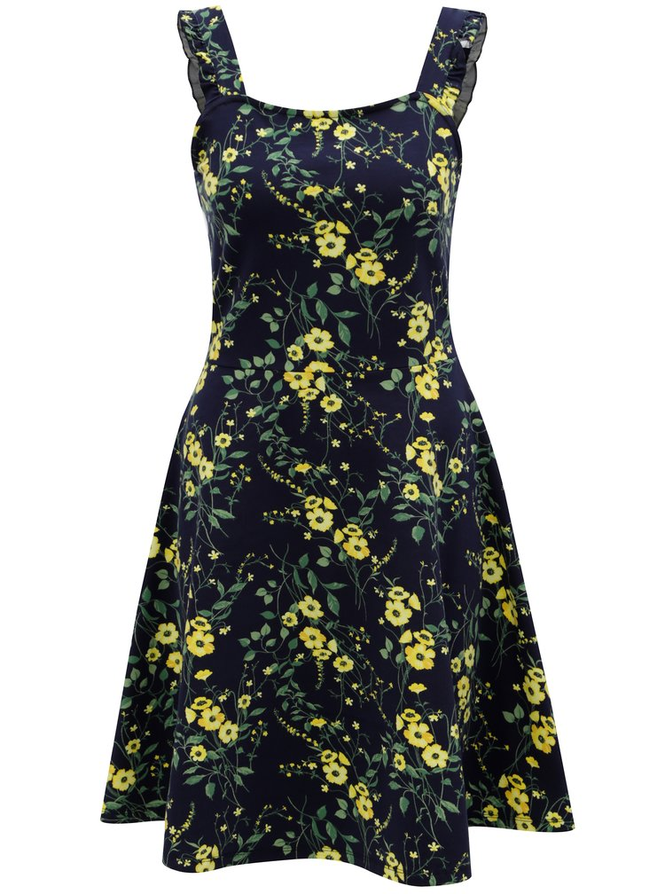 Tmavě modré květované šaty na ramínka Dorothy Perkins