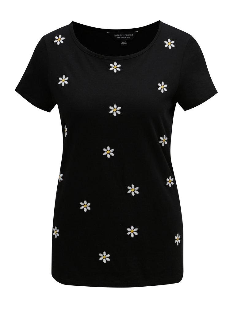 Černé tričko s květovanou výšivkou Dorothy Perkins