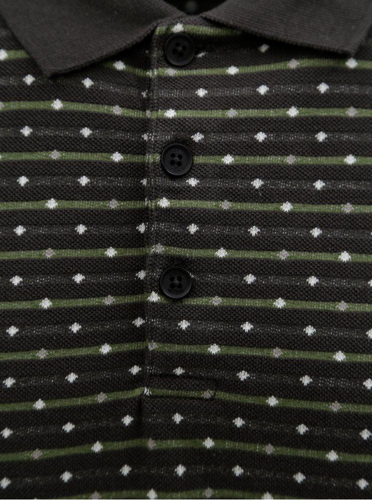 Zelené vzorované pánské polo tričko Garcia Jeans