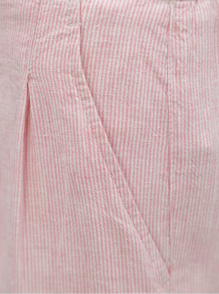 Světle růžové pruhované lněné kraťasy Dorothy Perkins