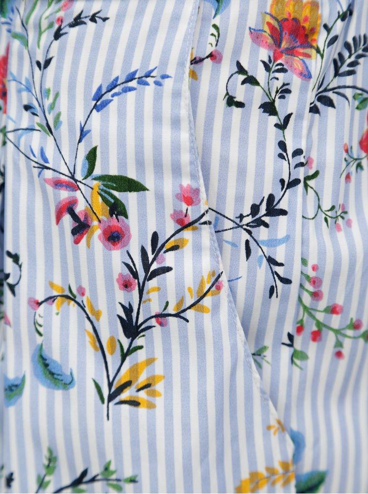 Modré pruhované kraťasy s květovaným potiskem Dorothy Perkins
