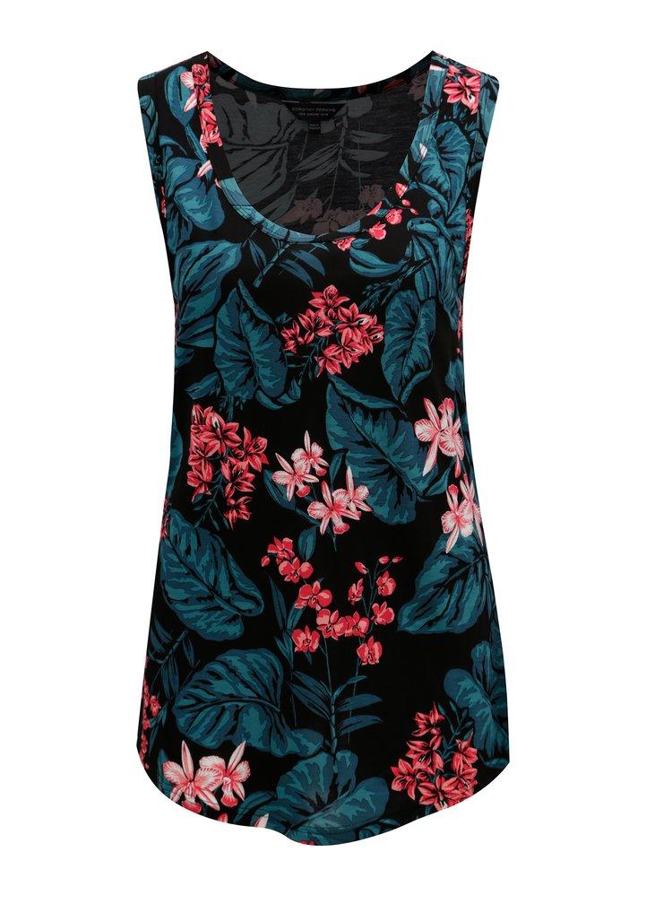 Černé  tílko s květovaným vzorem Dorothy Perkins