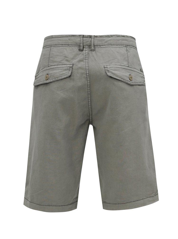 Sivé pánske ľanové kraťasy Garcia Jeans